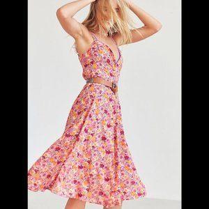 Kimchi Blue Graziano Floral Button-Down Midi Dress
